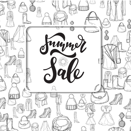 Summer Sale collection. Vector background with sun. Illusztráció