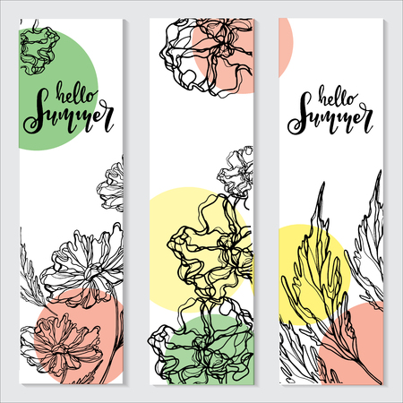 Hello Summer vector illustration, background. Fun quote hipster design or label.