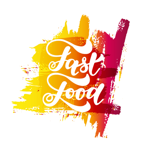 Fast food hand lettering and doodles elements background. Vector illustration
