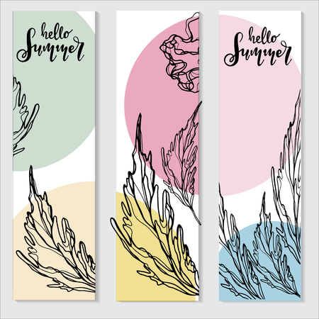 Hello Summer vector illustration, background. Fun quote hipster design logo or label.