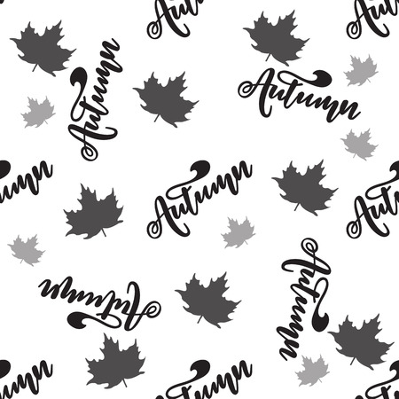 Seamless pattern with lettering Autumn. Vector typography, hand lettering, calligraphy