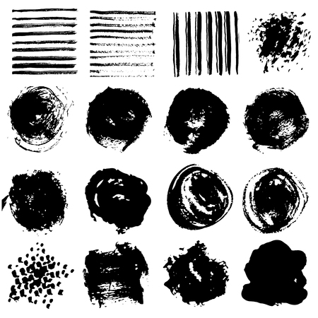 Set of paint stains. Paint splash. Hand painted spots. Isolated. Vector