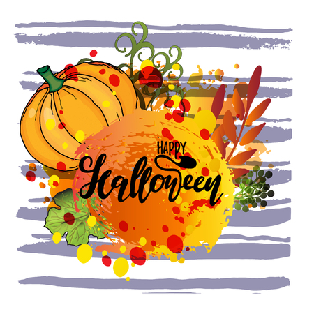 Creative happy Halloween text or hand vector lettering on, white background with pumpkin, mushrooms and leaves.