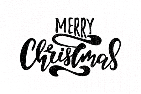 Vector illustration of Merry Christmas with the inscription for packing product to store , gift , message. shopping packaging. Inscription ,invitation banner template. Calligraphy background.