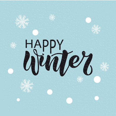 Vector illustration of Happy Winter with the inscription for packing product to store, gift, message. shopping packaging. Inscription , invitation , banner template. Calligraphy background.