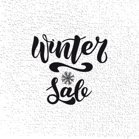 Winter shopping sale flyer template with lettering. Trendy cute background. Poster, card, label, banner design. Vector illustration EPS10.