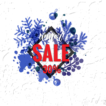 Winter sale vector banner design with elements and winter sale text in snow pattern background for shopping promotion