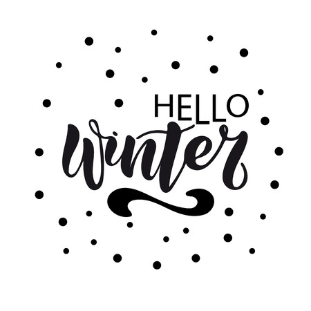 Vector illustration of Hello Winter with the inscription for packing product to store, gift, message. shopping packaging. Inscription , invitation , banner template. Calligraphy background.