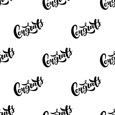Seamless pattern with lettering Congrats. Vector typography, hand lettering, calligraphy