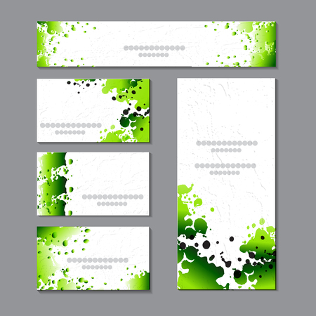 Spring templates with green watercolor spots.For romantic and design, ads, greeting cards, posters, advertising. Vector graphics