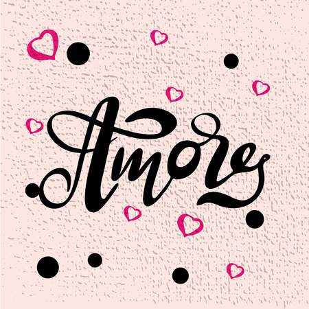 Vector illustration of Amore with the inscription for packing product to store, gift, message. shopping packaging. Inscription , invitation , banner template. Calligraphy background.