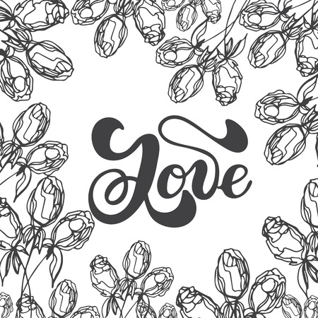 Vector illustration with floral frames, for invitations, cards, banners.Drawing and sketch with black and white line-art.