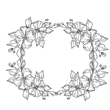 Vector flowers decorative wreath isolated on white background, round frame hand drawn Doodle vector sketch herbal line art graphic design for greeting card, invitation, wedding design, cosmetic