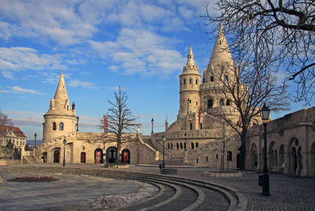 neogothic: Fishermans Bastion in Budapest, Hungary. Fishermans Bastion is a terrace in neogothic style. It is situated on the Buda bank of the Danube, on the Castle hill in Budapest. Editorial