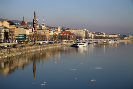 buda: View on Buda bank of Budapest, Hungary. We can see Calvinist Church and St Anna Church.