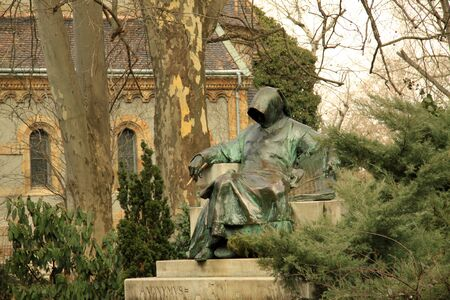Statue of Anonymus in Budapests City Park