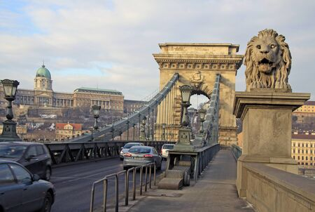 the chain bridge: View from Szechenyi Chain Bridge on Buda Castle