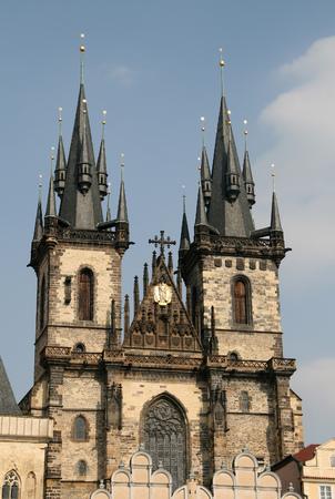 tyn: Church of Our Lady before Tyn, Prague, Czech Republic, Stock Photo