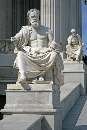 Greek philosopher Xenofones statue of Austrian Parliament Building, Vienna, Austria Editorial