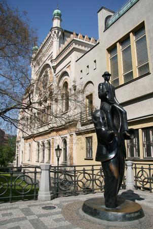 franz: Franz Kafka sculpture by Spanish Synagogue in Prague, Czech republic