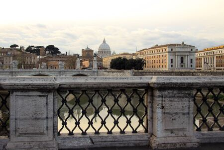 tiber: View at Tiber and St. Peters cathedral in Rome, Italy