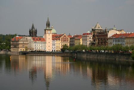 vltava: A view of the Vltava river and Smetana museum, Prague, Czech Republic Editorial