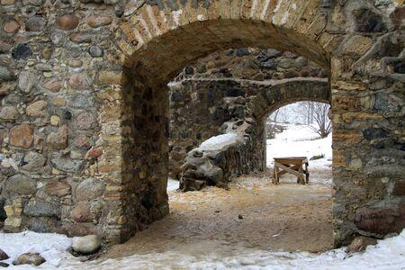 sigulda: SIGULDA, LATVIA - MARCH 17, 2012: Renewed ruins of Sigulda Old Castle. Sigulda old castle was built in 13th century. Editorial