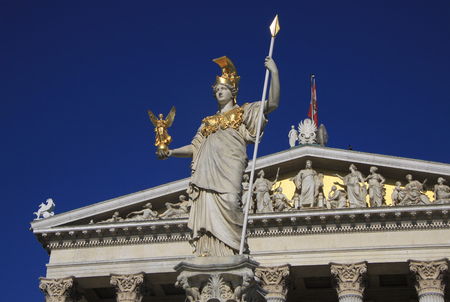 pallas: Statue of Pallas Athena, Goddess of Wisdom, standing in front of the Austrian Parliament building in Vienna