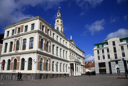 rathaus: RIGA, LATVIA - MARCH 19, 2012: Building of Riga City Council at the Town Hall Square Editorial