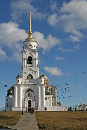 vladimir: VLADIMIR, RUSSIA - APRIL 18, 2009: The bell tower of the Dormition Cathedral Assumption Cathedral in Vladimir