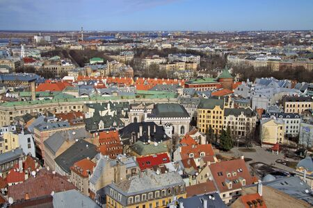 peter's: Aerial view of Riga center from St. Peters Church, Riga, Latvia
