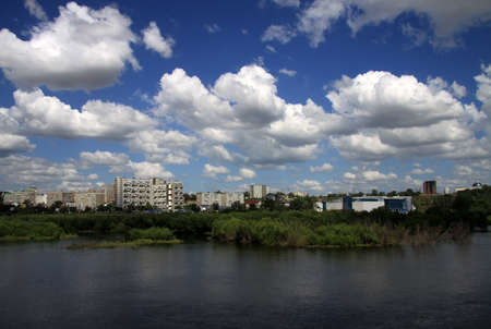 backwater: Yenisei River backwater in Krasnoyarsk, Russia Stock Photo