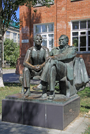 yuri: TAGANROG, RUSSIA - AUGUST 27, 2011:  Sculpture of the first cosmonaut Yuri Gagarin and the famous rocket engineer Sergey Korolev Editorial