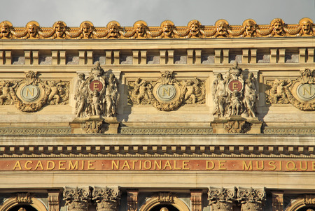 paris: PARIS, FRANCE - DECEMBER 16, 2011: Architectural details of Opera National de Paris Grand Opera or Garnier Palace