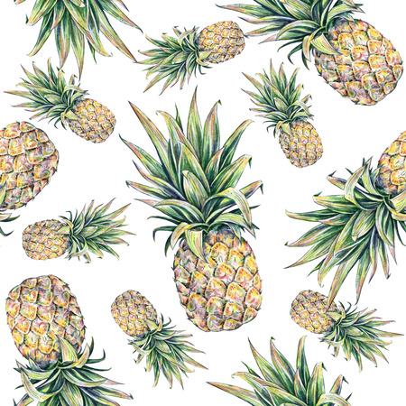 beach wrap: Pineapple on a white background. Watercolor colorful illustration. Tropical fruit. Stock Photo