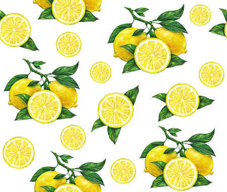 citric: Great illustration of beautiful yellow lemon fruits isolated on white background. Water color drawing of lemon. Seamless pattern