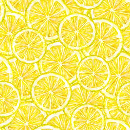 trabajo manual: frutas de color amarillo lim�n segmentos. Gr�fico de la acuarela. Trabajo manual. Fruta tropical. Comida sana. Patr�n sin fisuras para el dise�o