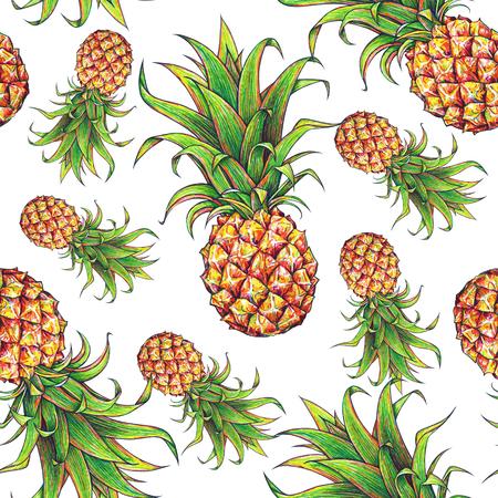 Ananas sur un fond blanc. marqueurs de dessin de couleur. Fruit exotique. Seamless Banque d'images