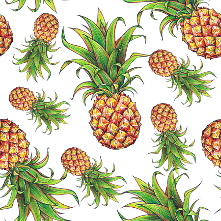 Pineapple on a white background. Color drawing markers. Tropical fruit. Seamless pattern