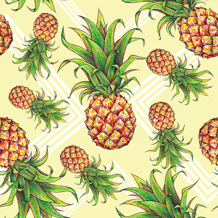 Pineapples with geometrical forms on a yellow background. Color drawing markers. Tropical fruit. Seamless pattern textiles fabric print