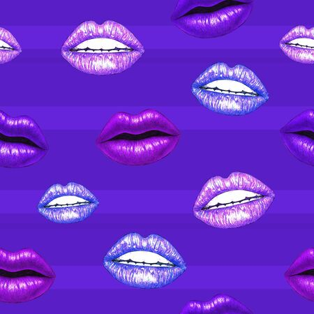 trabajo manual: Beautiful sexual lips with white teeth on a violet background. Purple female lips drawing. Handwork. Seamless pattern for design Foto de archivo