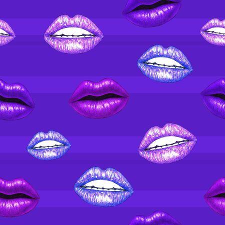 trabajo manual: los labios sexual hermosa con los dientes blancos sobre un fondo violeta. Púrpura labios femeninos dibujo. Trabajo manual. Patrón sin fisuras para el diseño