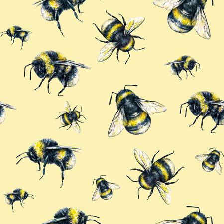 trabajo manual: Abejorro en un fondo amarillo. Gráfico de la acuarela. arte insectos. Trabajo manual. patrón sin fisuras