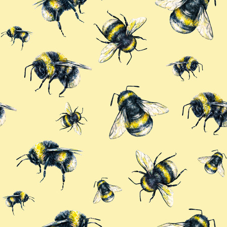 pollinate: Bumblebee on a yellow background. Watercolor drawing. Insects art. Handwork. Seamless pattern