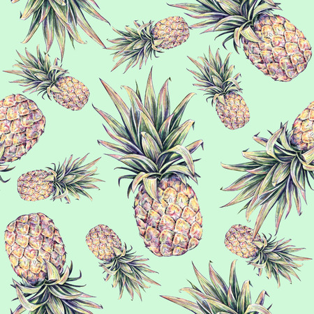 Pineapples on a light green background. Watercolor colourful illustration. Tropical fruit. Seamless pattern Stock Photo