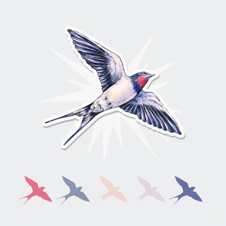 美しいツバメ ベクトル ステッカー。水彩イラスト。春の鳥は、愛をもたらします。手仕事