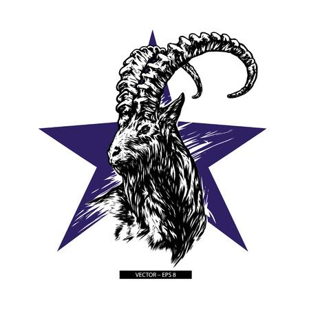 Mountain goat vector.  Black silhouette. Siberian ibex. Capra sibirica. Graphic drawing