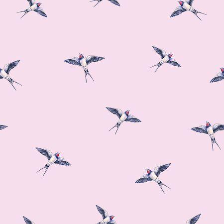 trabajo manual: Bella golondrina sobre un fondo rosa. Ilustración de la acuarela. pájaro primavera trae amor. Trabajo manual. patrón sin fisuras