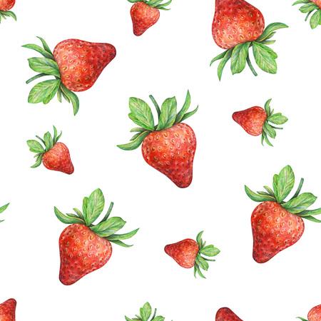 trabajo manual: Fresa en el fondo blanco. Gráfico de la acuarela de las bayas de fresa. Trabajo hecho a mano dibujado. sin fisuras patrón de la fresa de la acuarela para el diseño de la tela Foto de archivo