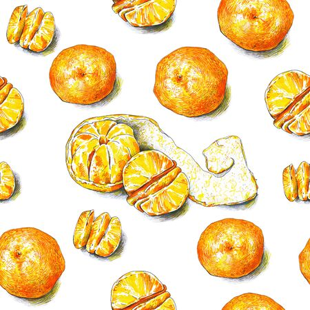 Tangerines fruits are isolated on a white background. Color sketch felt-tip pens. Tropical fruit. Healthy food. Handwork. Fast schematic drawing. Seamless pattern for design. Stock fotó - 72850302